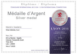 diploma Coloman temp-syrah 2015