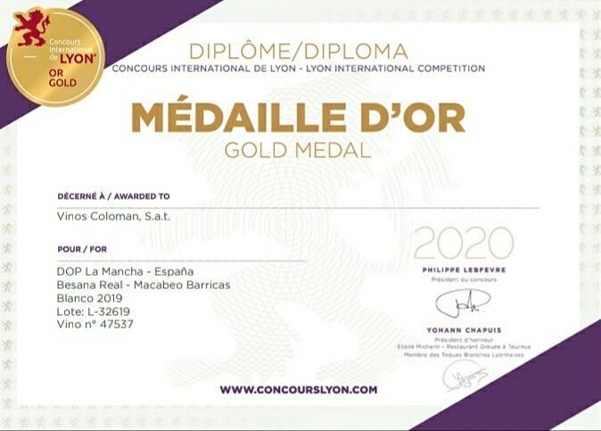 Medalla de Oro en el Concurso Internacional de Lyon 2020 (Besana Real Macabeo Selección)