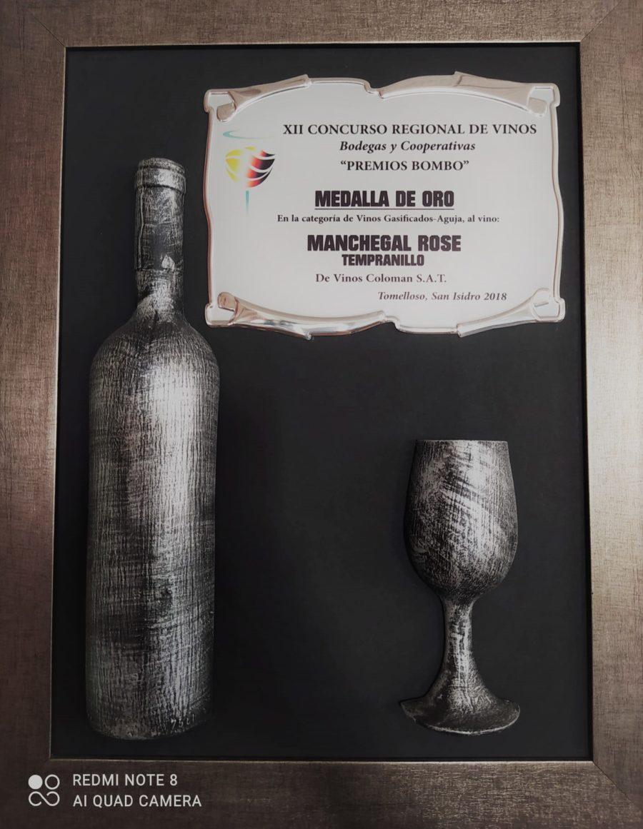 """Medalla Oro en el Concurso Regional de Vinos """"Premios Bombo"""" 2018 (Manchegal Rosado de Aguja)"""