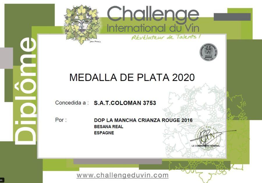 Medalla Plata en Challenge International du Vin 2020 (Besana Real Crianza)