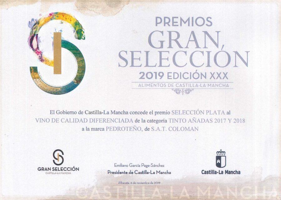 Medalla Plata en los Premios Gran Selección 2019 (Pedroteño Tempranillo)