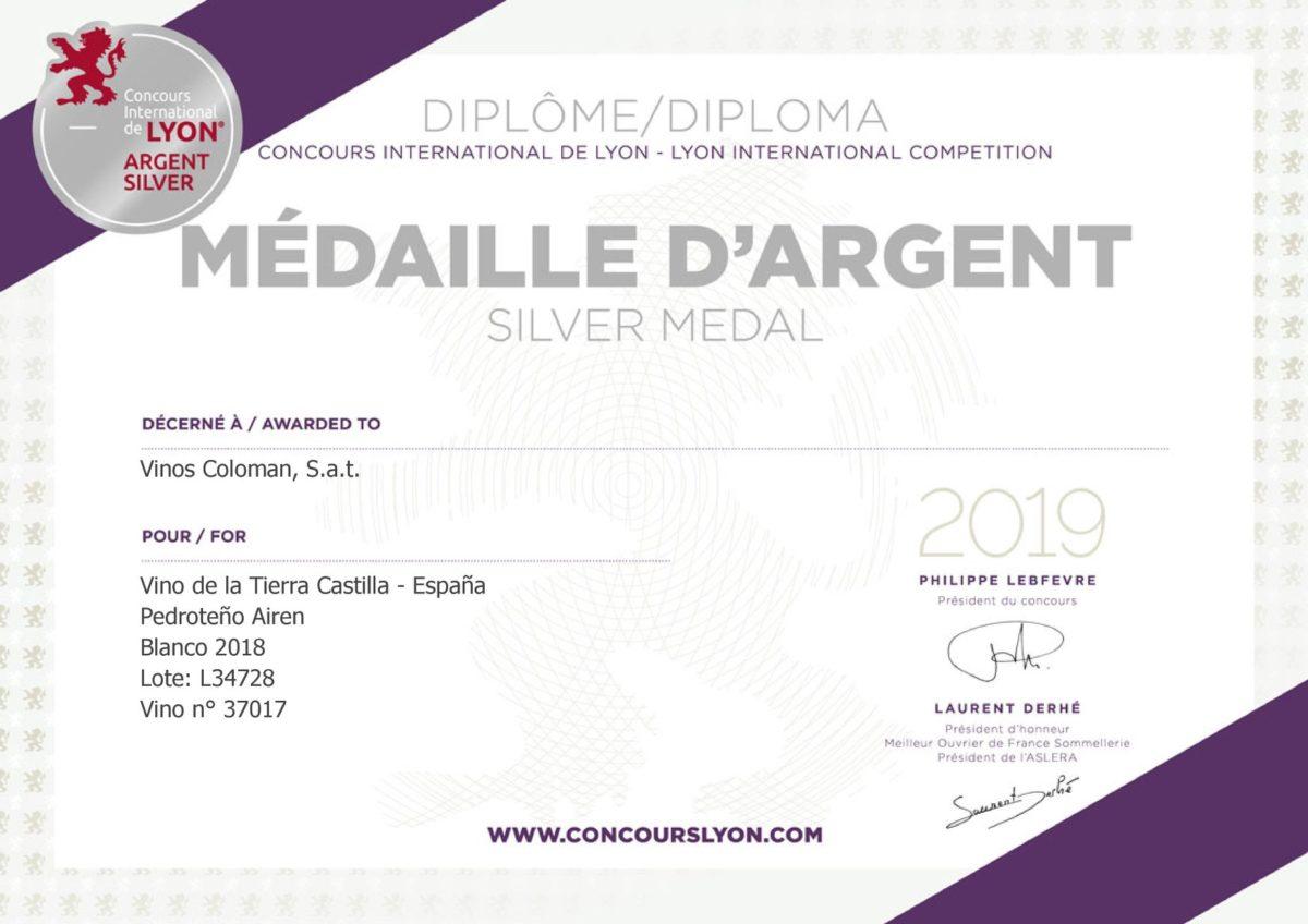 Medalla de Plata en el Concurso Internacional de Lyon 2019 (Pedroteño Airén)