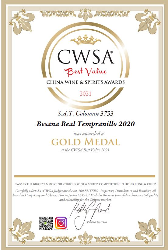 Medalla de Oro en el Concurso China Wines & Spirits Awards 2021 (Besana Real Tempranillo)
