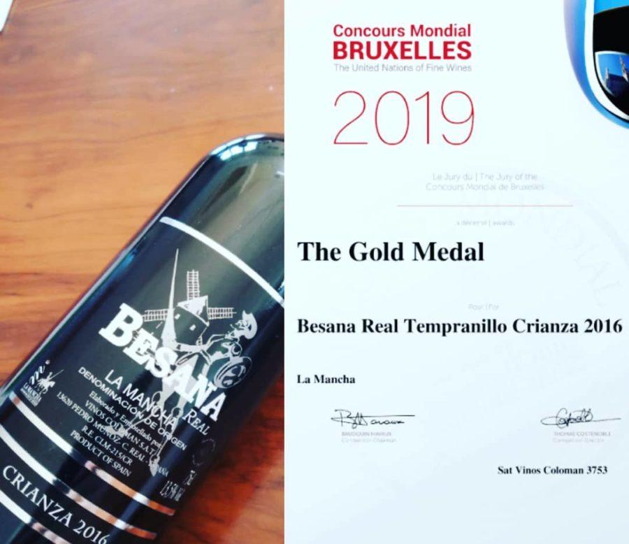 Medalla de Oro en el Concurso Mundial de Bruselas 2019 (Besana Real Crianza)