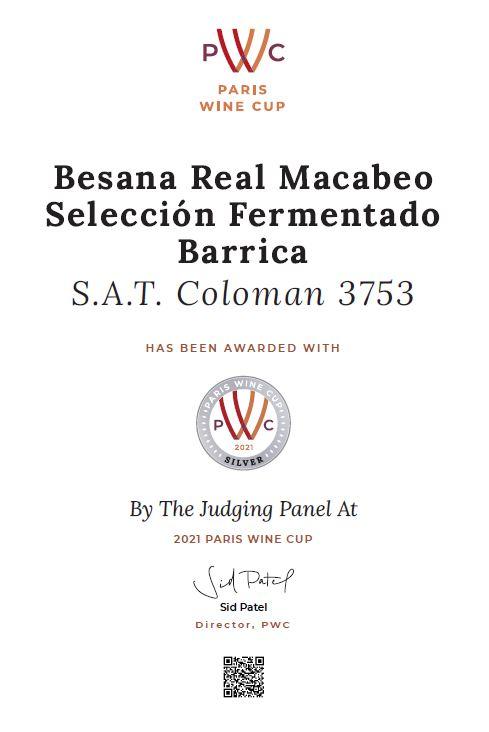 Medalla de Plata en el Concurso Paris Wine Cup 2021 (Besana Real Macabeo Selección)